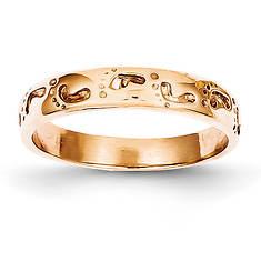 14K Rose Gold Footprints Ring