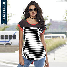 Mixed Media Stripe Tee