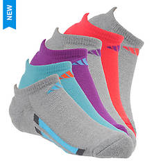 adidas Vertical Stripe 6-Pack No Show Socks (Girls')