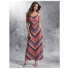 Lace-Back Chevron Dress