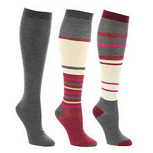 Steve Madden Women's SM34475 3PK Color Block Knee Hi Socks