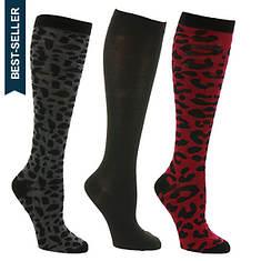 Steve Madden Women's SM34473 3PK Leopard Knee Hi Socks