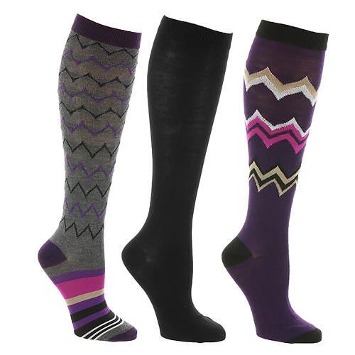 Steve Madden Women's SM34472 3PK Chevron Knee Hi Socks