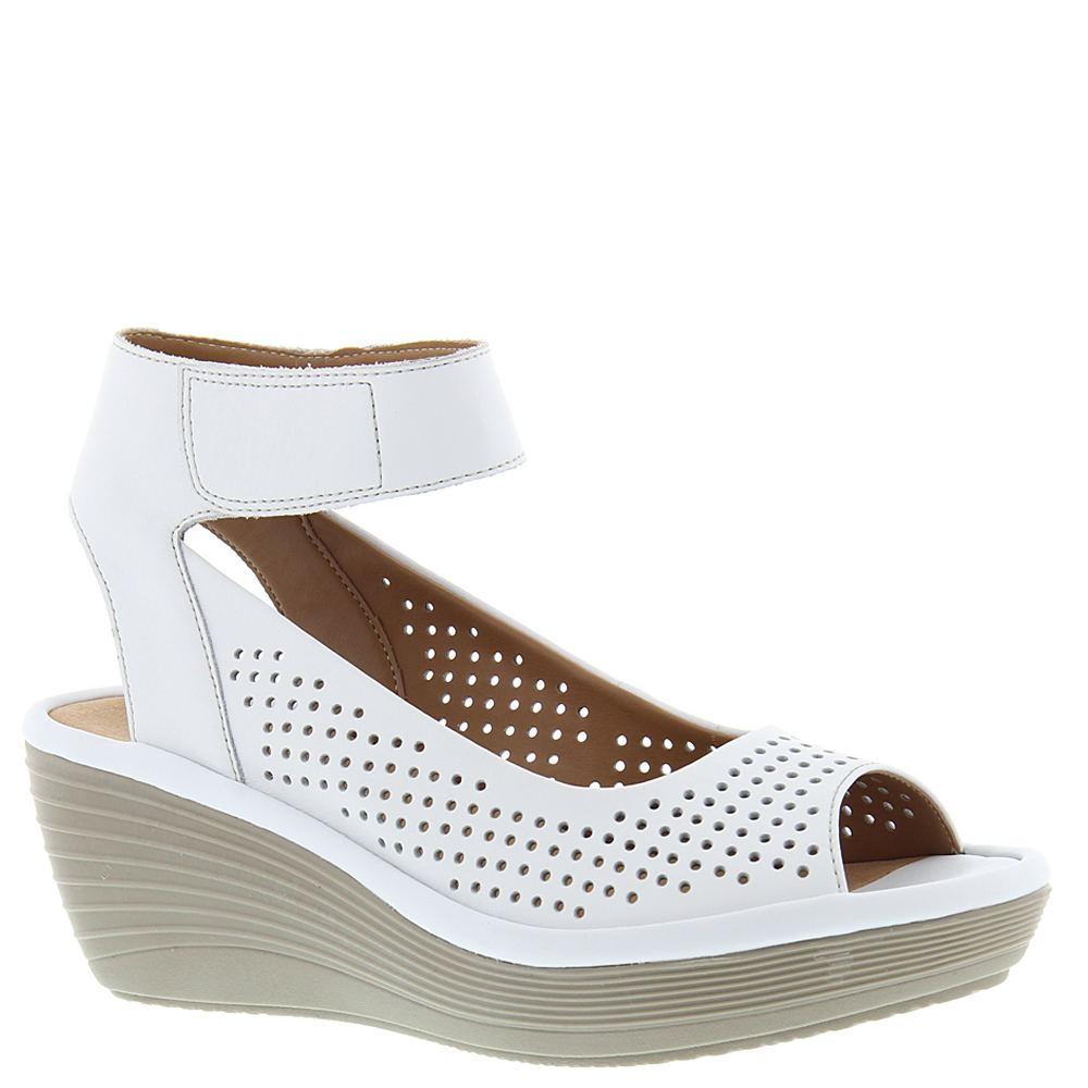 40935e65305f Clarks Womens Reedly Salene Wedge Sandal White Leather 8.5 M US