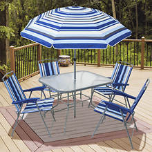 6-Piece Stripe Folding Chair Set