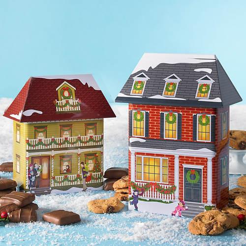 Collectible Christmas Village Tins & Treats - Both