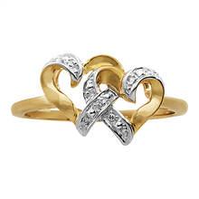 Samuel Aaron 10KY Diamond Double Heart Ring
