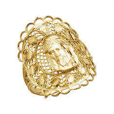 10K Gold Jesus Filigree Ring