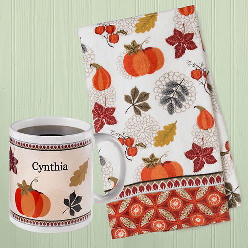 Harvest Kitchen Gift Set - Dish Towel & Personalized Mug