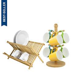 Bamboo Dish Rack And Mug Tree Set