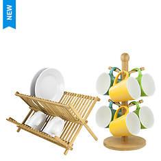Bamboo Dish Rack And Mug Tree Set - Opened Item