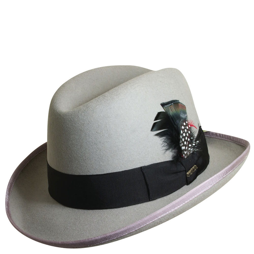 1930s Mens Hat Fashion Scala Classico Mens Felt Homburg Hat Grey Hats L $56.95 AT vintagedancer.com