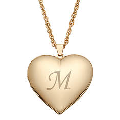 Gold-Plated Single-Initial Heart Locket
