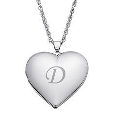 Silver-Plated Single-Initial Heart Locket