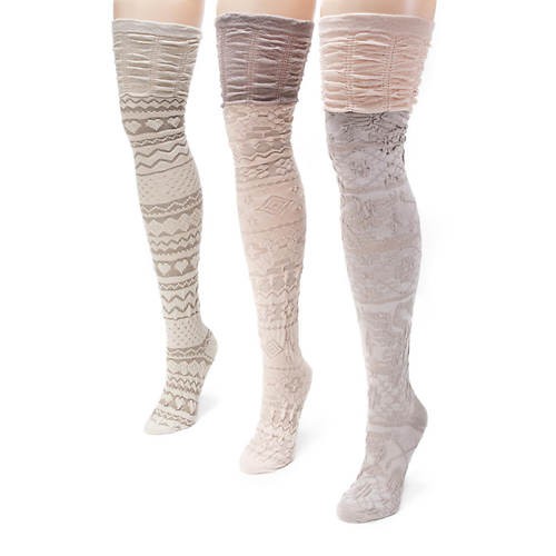 MUK LUKS 3-Pack Microfiber Over-the-Knee Socks