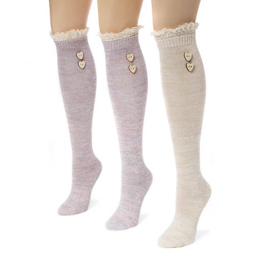 3-Pair Lace Top Marl Knee High Socks