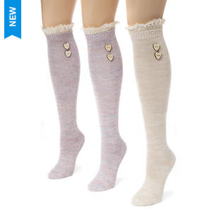 3-Pair Lace Top Marl Knee High Socks