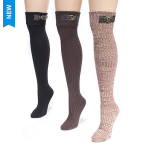 3-Pack Buckle Cuff Over the Knee Socks