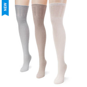 3-Pack Pointelle Over the Knee Socks