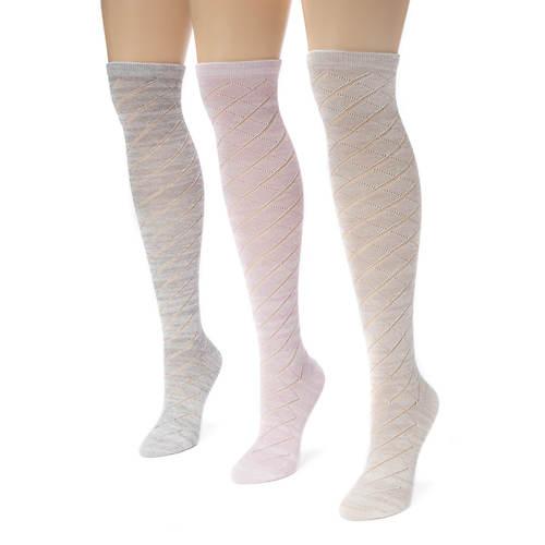 MUK LUKS 3-Pair Pointelle Marl Knee High Socks
