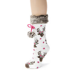 Faux Fur Cuff Sock with Poms-Patterned