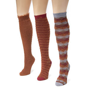 3-Pack Fuzzy Yarn Knee High Socks