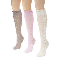 3 Pair Pointelle Knee High Socks