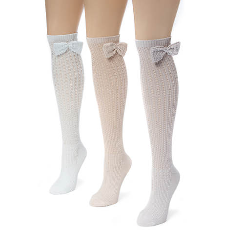 3 Pair Pointelle Bow Knee High Socks