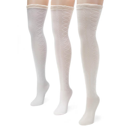 3-Pack Lace Over the Knee Socks