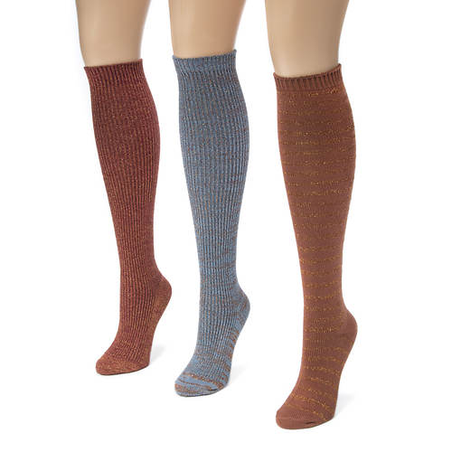 3 Pair Lurex Knee High Socks