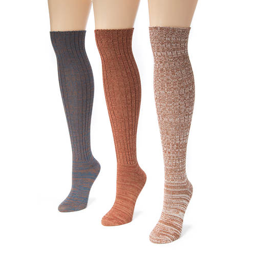 MUK LUKS 3-Pair Marl Knee High Socks