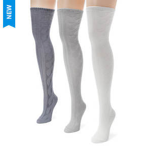 3-Pack Cable Knit Over the Knee Socks