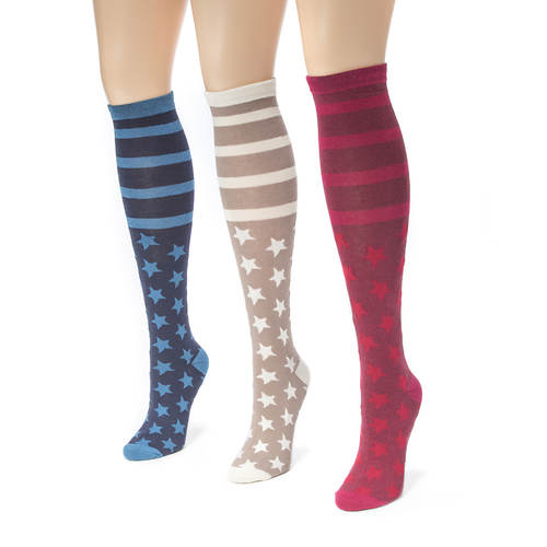 3 Pair Jacquard Knee High Socks