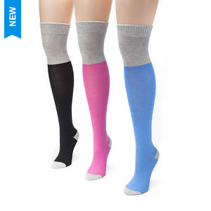3-Pack Color Block Over the Knee Socks