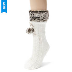 MUK LUKS Faux Fur Cuff Sock with Poms (Women's)