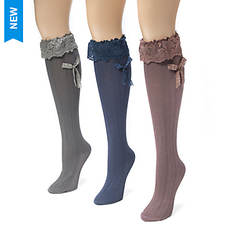 3-Pack Lacey Bow Knee High Socks