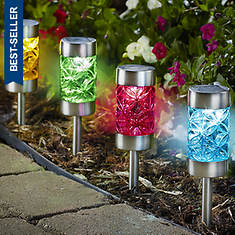 Set of 4 Stainless Solar Lights