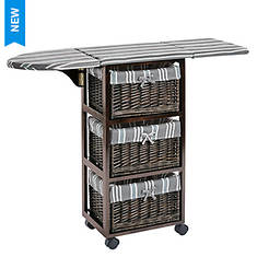 Portable Wood & Wicker Ironing Center