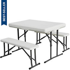 Stansport™ Folding Resin Table With Bench Seats