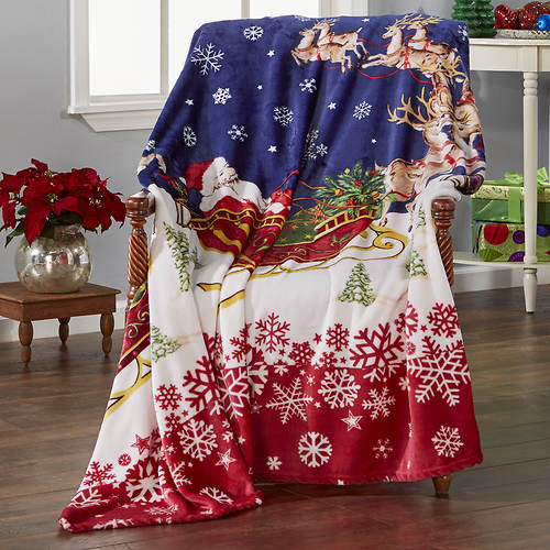 Santa's Reindeer Plush Blanket