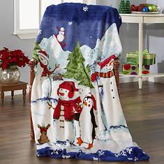 Snowmen on Parade Plush Blanket