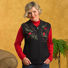 Embroidered Sweater Vest-Black