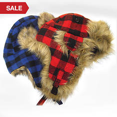Buffalo Check Quilt Trapper Hat-Red
