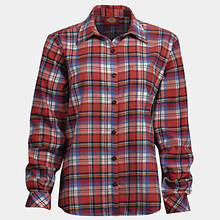 Dickies Women's Long Sleeve Plaid Shirt-Magenta
