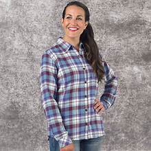 Dickies Women's Long Sleeve Plaid Shirt-Blue