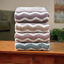 Chevron Microplush Blanket-Beige
