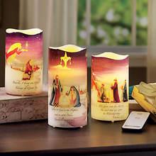 Folk Art Nativity Plate Set & 3 Pc. Candle Set