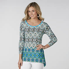 Embellished Scoop Neck Printed Top