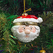 Porcelain Secret Hinged Ornaments-Santa