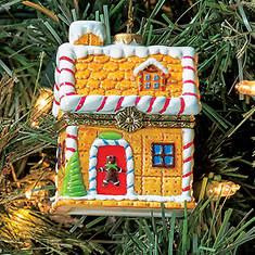 Porcelain Secret Hinged Ornaments-Gingerbread House